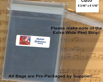 CB55 - 100 BOPP Flat Cello Bags - 5 3/16 x 5 1/16 INCH - 5x5 Card with Env - Retail Packaging, Storage, Organizing - Amazing Qty Discount