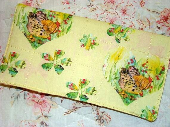 Needlecase Chickens Yellow Watercolor Designer Art Fabric