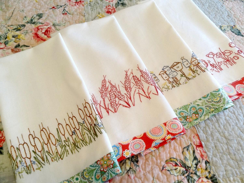 Redwork Hand Embroidery Kitchen Towels PDF Pattern Set Instant