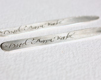 PERSONALIZED MESSAGE - sterling silver men's collar stays