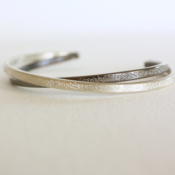 diamond dusted sterling silver cuff