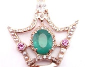 Pendant The Queens Crown- 14kt Handcrafted with Diamonds, Emeralds, Sapphires and Pearls