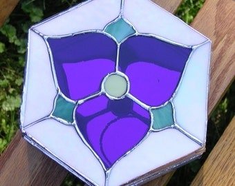 Trillion Octagonal- Jewelry Box- with Blue Violet and Irridescent Glass