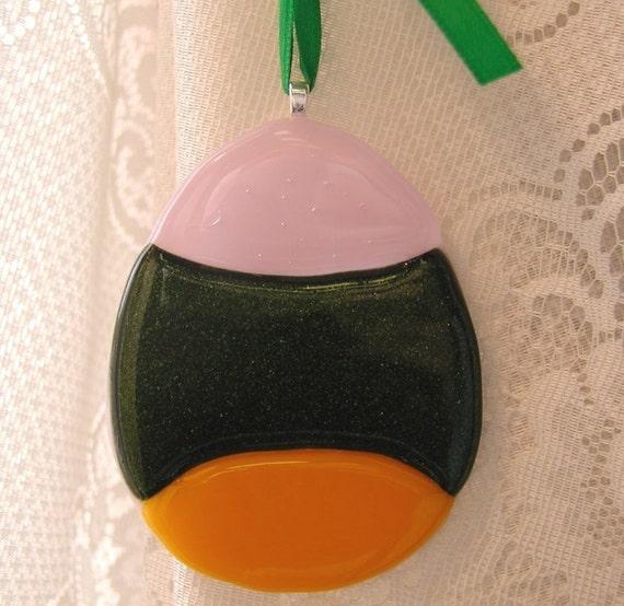 Handmade fused art glass Easter egg
