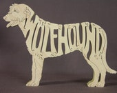 Irish Wolfhound Dog Puzzle Wooden Toy Hand Cut with Scroll Saw