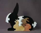 Bunny with Babies Animal Puzzle  Wooden Toy Hand  Cut with Scroll Saw