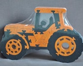 Orange Farm Case or Kubota Tractor Wooden Toy Puzzle Hand Cut