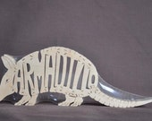 Armadillo Animal Puzzle Wooden Toy Hand Cut with Scroll Saw