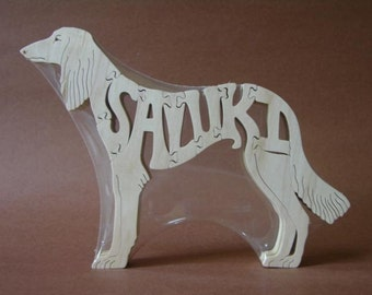 Saluki Dog Puzzle Wooden Toy Hand Cut with Scroll Saw
