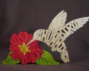 NEW Hummingbird  Bird Animal Puzzle Wooden Toy Hand  Cut with Scroll Saw