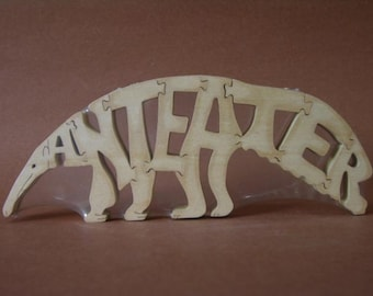 Anteater Animal Puzzle Wooden Toy Hand  Cut with Scroll Saw