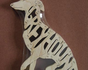 Sitting Greyhound Dog Puzzle Wooden Toy Hand Cut  with Scroll Saw