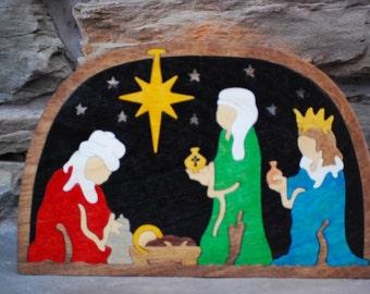 Three Wisemen Nativity Puzzle  Wooden Hand Cut Christmas Decoration