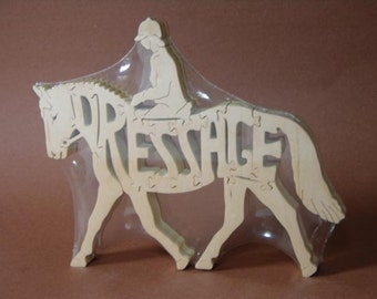 Dressage English Riding Show Horse Puzzle Wooden Toy Hand  Cut with Scroll Saw