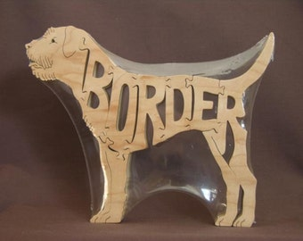 Border Terrier  Dog Puzzle Wooden Toy Hand Cut with Scroll Saw