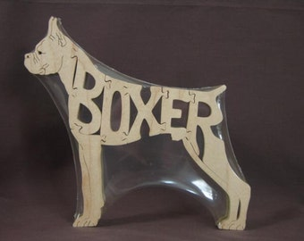 Boxer  Wooden Dog Toy Puzzle Hand Cut with Scroll Saw