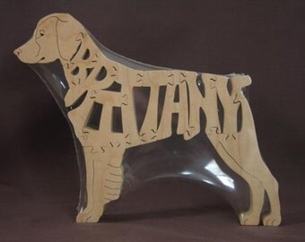 Brittany Spaniel Dog Puzzle Wooden Toy Hand Cut with Scroll Saw