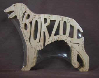 Borzoi Dog Puzzle Wooden Toy Hand Cut with Scroll Saw