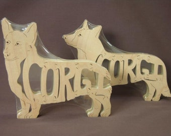 Pembroke  Corgi Dog Puzzle Wooden Toy Hand Cut with Scroll Saw