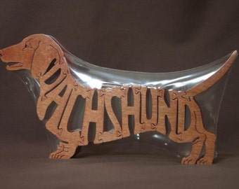 Red Dachshund Dog Puzzle Wooden Toy Hand Cut with Scroll Saw