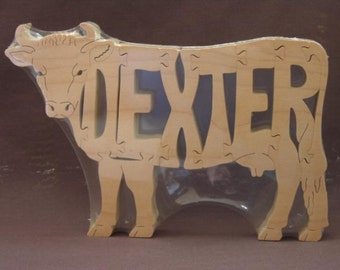 Dexter Cow or Bull Cattle Puzzle Wooden Toy Hand Cut