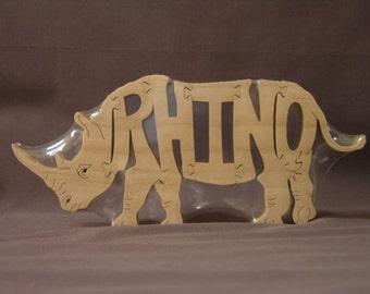 Rhino Rhinoceros Animal Puzzle Wooden Toy Hand  Cut with Scroll Saw