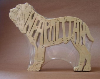 Neapolitan Mastiff Dog Puzzle Wooden Toy Hand Cut with Scroll Saw