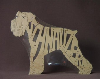 Miniature Schnauzer Dog Puzzle Wooden Toy Hand Cut with Scroll Saw
