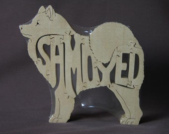 Samoyed Dog Puzzle Wooden Toy Hand Cut with Scroll Saw