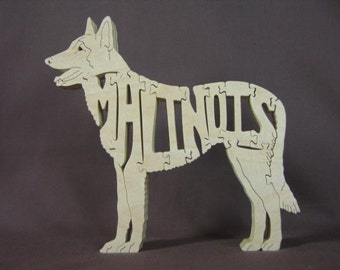 Belgian Malinois Dog Puzzle Wooden Toy Hand Made with Scroll Saw