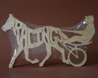 Race Horse Racing Sulky Puzzle Wooden Toy Hand Cut with Scroll Saw