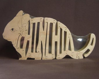 Chinchilla Wooden Animal Puzzle Wood Toy  Hand Cut  with Scroll Saw