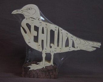 Seagull Bird Puzzle Wooden Toy Hand Cut with Scroll Saw