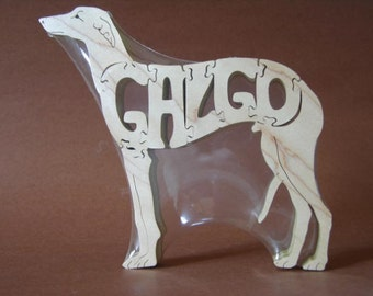 Galgo Espanol Dog Puzzle Wooden Toy Hand Cut with Scroll Saw