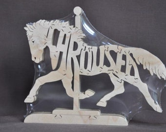 Carousel  Horse  Animal Wood Puzzle Hand Cut with Scroll Saw Toy