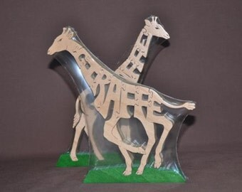Giraffe Animal Puzzle Wooden Toy Hand  Cut with Scroll Saw