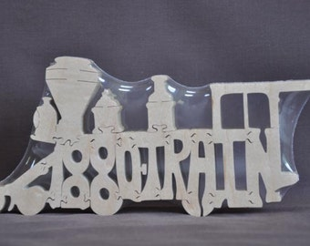 1880 Train Puzzle Wooden Toy Hand Cut with Scroll Saw