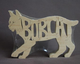 Bob Cat Bobcat Wild Cat  Animal Puzzle Wooden Toy Hand  Cut with Scroll Saw