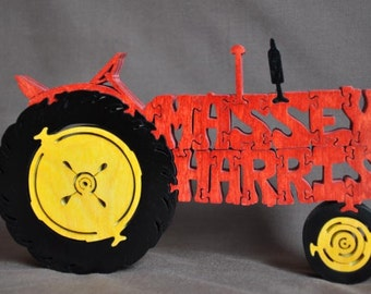 Massey Harris Antique Red Farm Tractor Toy Puzzle Hand Cut