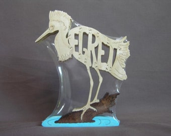 Snowy Egret  Wooden Bird Puzzle Toy  Cut  with Scroll Saw