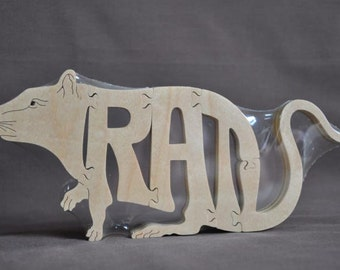 Rat Rodent Puzzle Wooden Toy Hand Cut with Scroll Saw