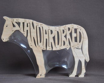 Standardbred Horse Wooden Toy Hand Cut with Scroll Saw