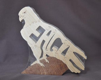 Eagle Bird of Prey Puzzle Wooden Toy Hand Cut with Scroll Saw