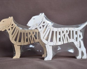 Bull Terrier Dog Puzzle Wooden Toy Hand Cut with Scroll Saw