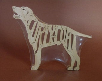 Curly-Coated Retriever Wooden Dog Puzzle Amish Made Scroll Saw Toy