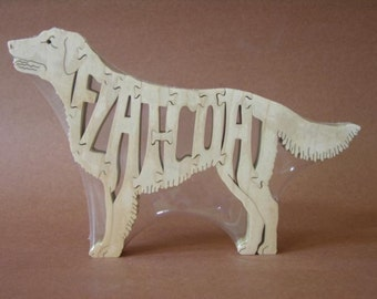 Flat-Coated Retriever Dog Puzzle Wooden Toy Hand Cut with Scroll Saw
