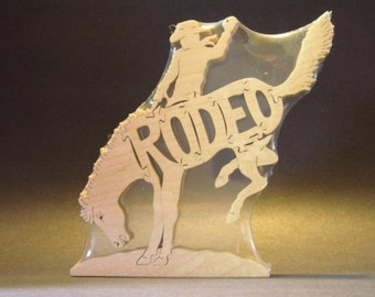 Cowboy Rodeo Horse Bucking Bronco Puzzle Wooden Toy Hand  Cut with Scroll Saw