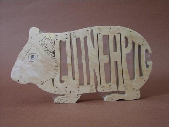 Guinea Pig Rodent Puzzle Wooden Toy Hand  Cut with Scroll Saw