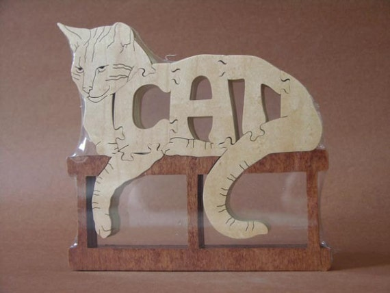 Cat  Puzzle Wooden Toy Hand Cut with Scroll Saw