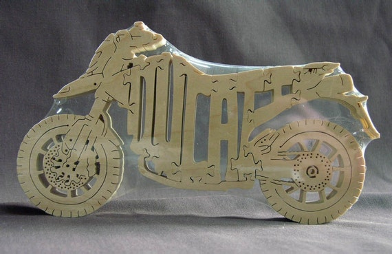 Ducati Hypermotard Motorcycle  Puzzle Wooden Toy Hand Cut with Scroll Saw